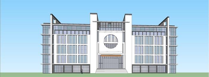 新中式徽式徽派中学教学行政办公综合楼(2)