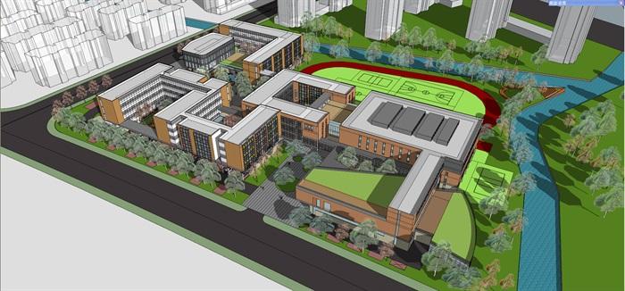 现代中小学校园整体规划设计教学楼设计(1)