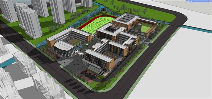 现代中小学校园整体规划设计教学楼设计(2)