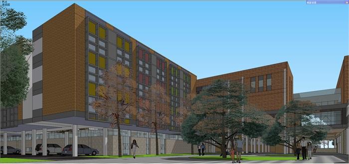 现代中小学校园整体规划设计教学楼设计(6)