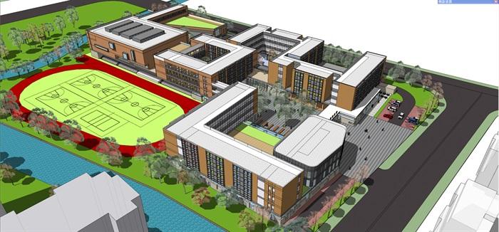 现代中小学校园整体规划设计教学楼设计(7)