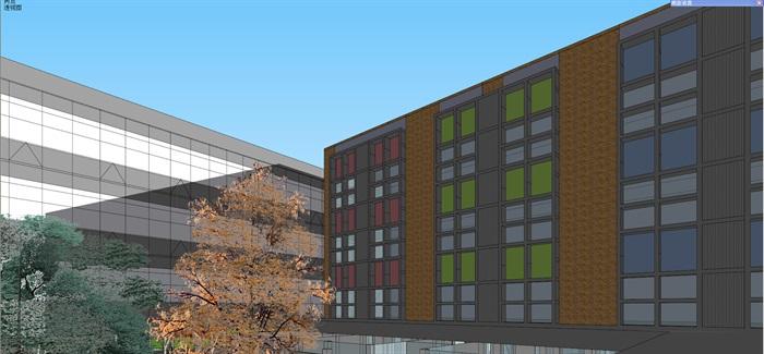 现代中小学校园整体规划设计教学楼设计(8)