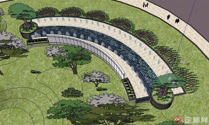 详细的完整喷泉水池景墙素材设计su模型,模型有材质贴图,模型细节处理得当详细完整,模型包含了详细的种植池、水池、景墙素材设计,可直接下载用于相关园林景观素材设计使用,欢迎下载。
