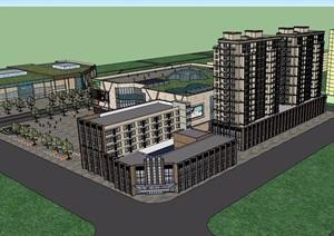 现代风格多层商住楼设计SU(草图大师)模型