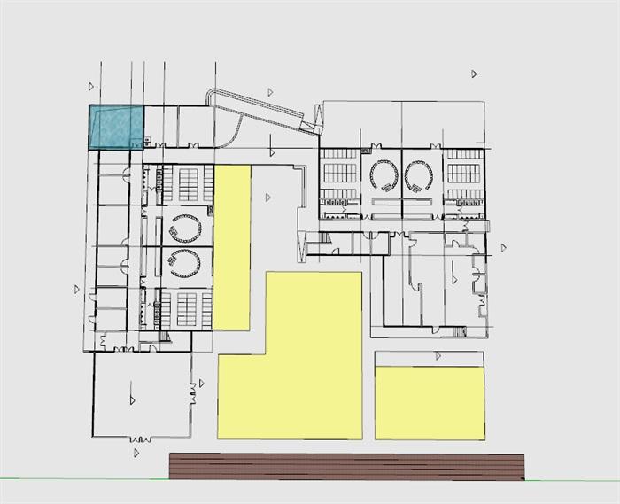 现代创意彩色表皮12班幼儿园托儿所设计模型带平面(1)