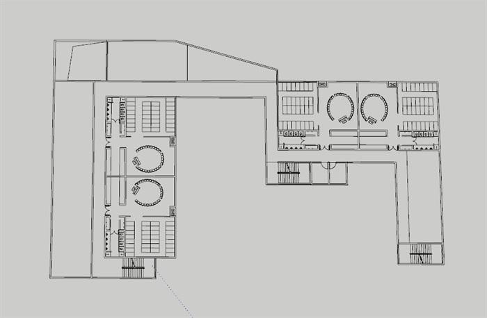 现代创意彩色表皮12班幼儿园托儿所设计模型带平面(3)