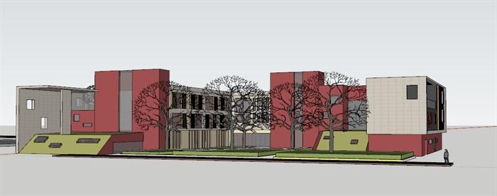 现代创意彩色表皮12班幼儿园托儿所设计模型带平面(4)