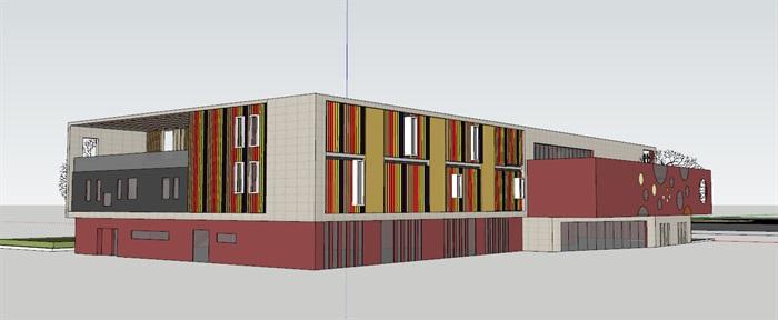 现代创意彩色表皮12班幼儿园托儿所设计模型带平面(5)