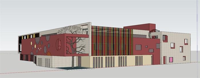 现代创意彩色表皮12班幼儿园托儿所设计模型带平面(6)