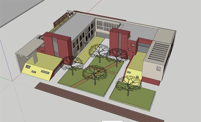 现代创意彩色表皮12班幼儿园托儿所设计模型带平面(7)