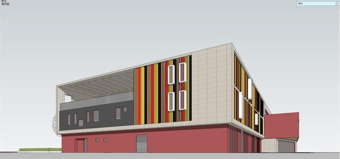 现代创意彩色表皮12班幼儿园托儿所设计模型带平面(10)