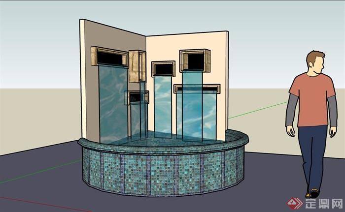 园林景观详细的水池景观su模型
