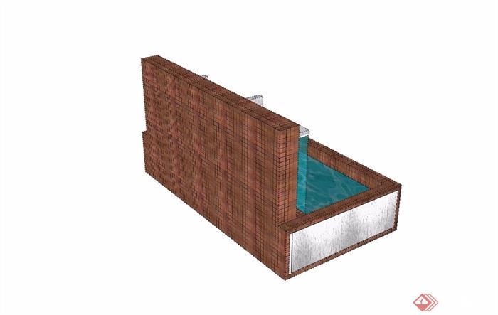 详细的完整水池景观设计su模型