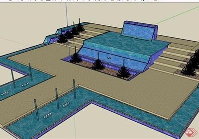详细的完整水池设计su模型