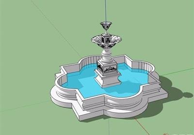 详细的整体水池景观设计su模型