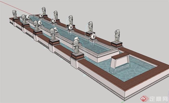 详细的完整喷泉水池景观设计su模型