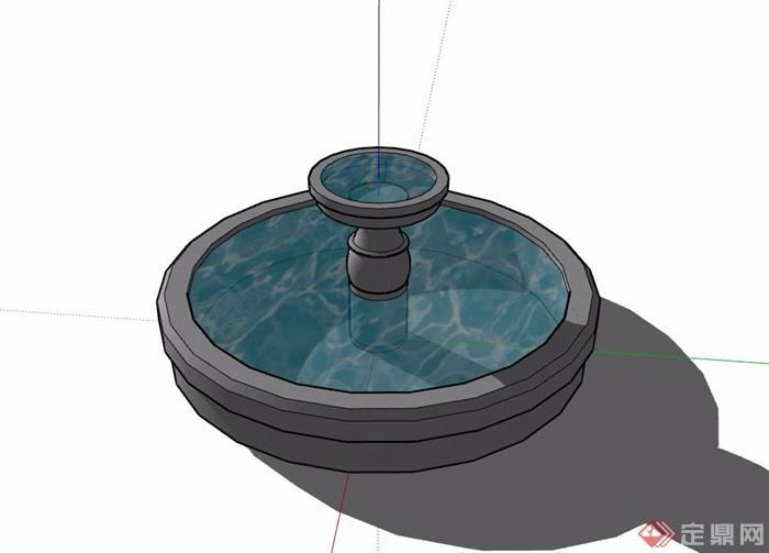 详细的圆形水池设计su模型