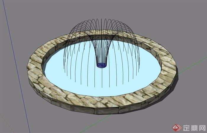 圆形详细的完整水池设计su模型