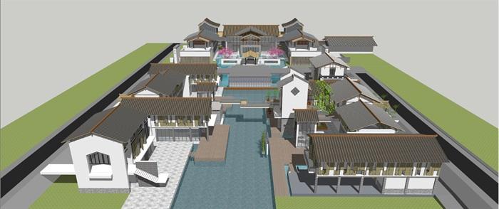 中式仿古民俗商业风情水街商业小型组团特色民宿群(1)