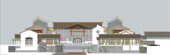 中式仿古民俗商业风情水街商业小型组团特色民宿群(11)