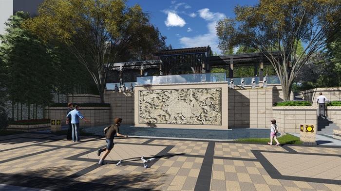 新中式景观步道廊架(1)
