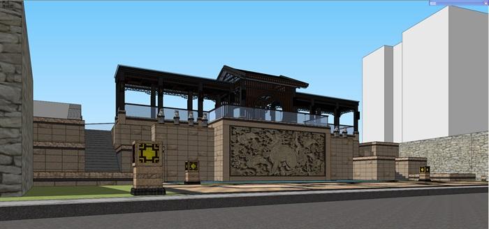 新中式景观步道廊架(4)