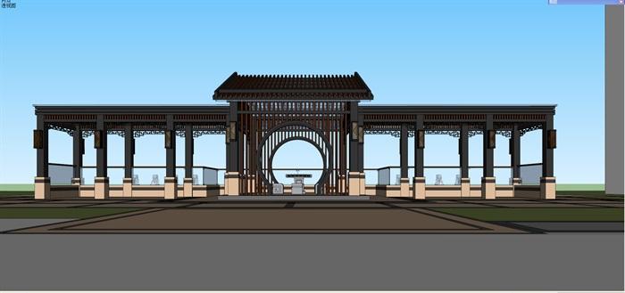 新中式景观步道廊架(6)