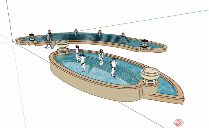 两个详细的完整水池景观设计su模型