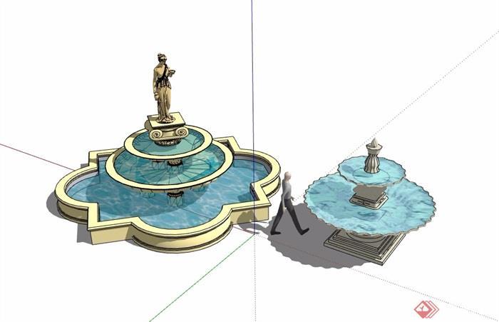 两个欧式水钵水池景观设计su模型
