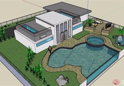 详细的整体完整别墅设计su模型