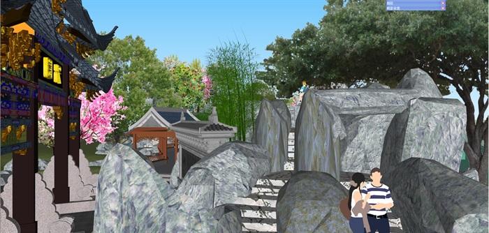 小型古典园林一池三山景观公园设计(3)