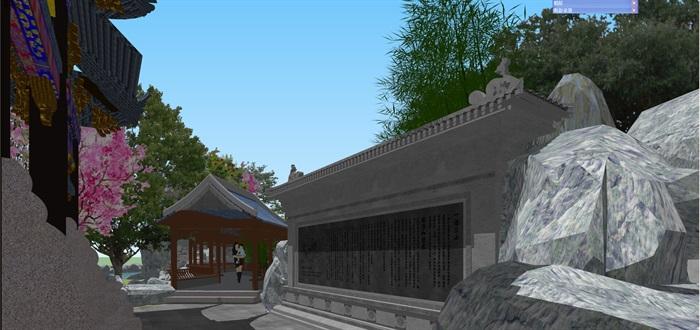 小型古典园林一池三山景观公园设计(4)