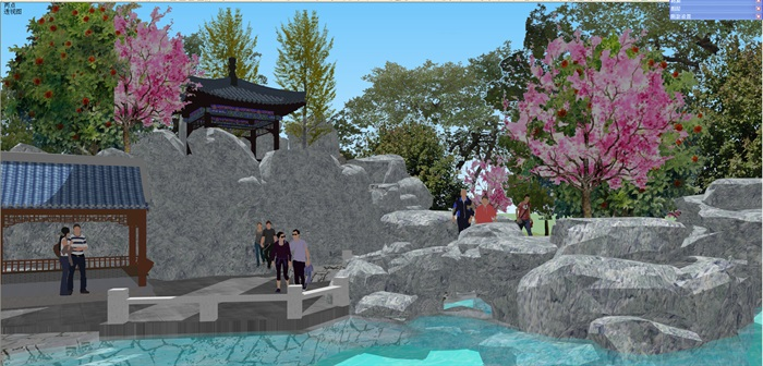 小型古典园林一池三山景观公园设计(7)