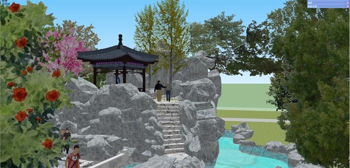 小型古典园林一池三山景观公园设计(8)