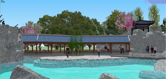 小型古典园林一池三山景观公园设计(9)