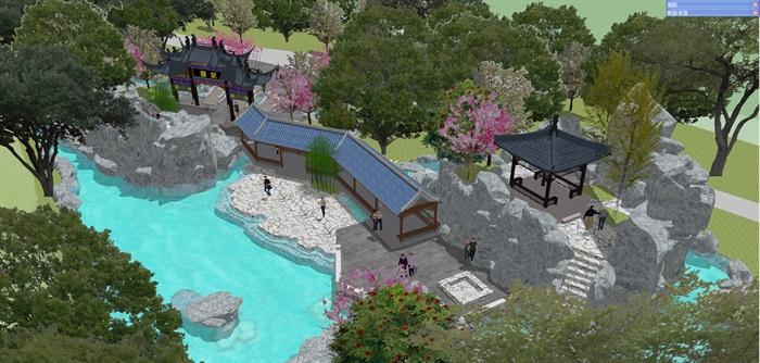 小型古典园林一池三山景观公园设计(10)