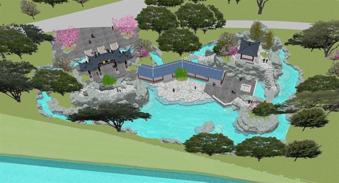 小型古典园林一池三山景观公园设计(11)