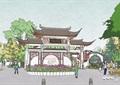 古典中式公园主入口大门su模型
