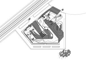 现代创意折线型地景式上人屋面大平台文化展览馆博物馆文化展示中心