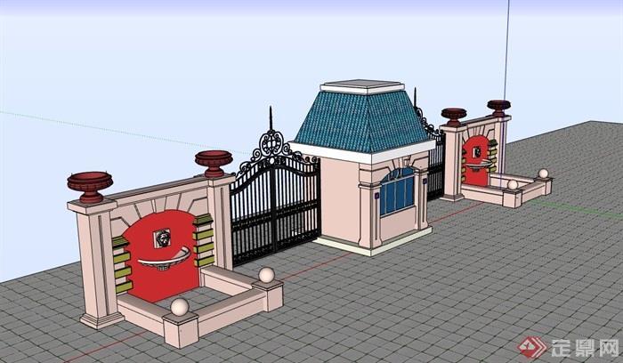 详细的完整欧式大门设计su模型
