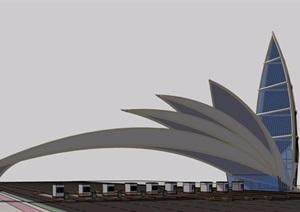 收费站独特造型设计SU(草图大师)模型
