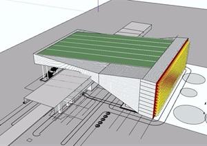 轻轨站详细建筑设计SU(草图大师)模型
