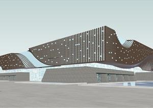 参数化波浪涌动型格栅表皮地景式上人屋面展览馆博物馆文化中心