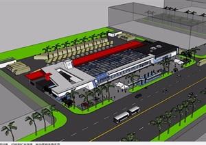 汽车站详细完整设计SU(草图大师)模型