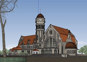 欧式老车站详细设计SU(草图大师)模型