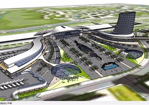 某详细的整体高铁站改造设计SU(草图大师)模型