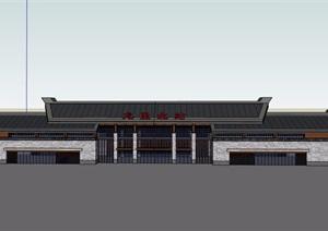 某中式火车站多层设计cad方案、SU(草图大师)模型