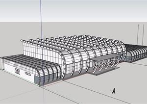 某整体详细的客运站设计SU(草图大师)模型