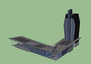 客运站现代独特建筑设计SU(草图大师)模型