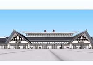 中式机场方案详细建筑设计SU(草图大师)模型